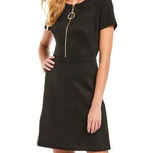 NWT Calvin Klein Black faux suede Shift Dress 8